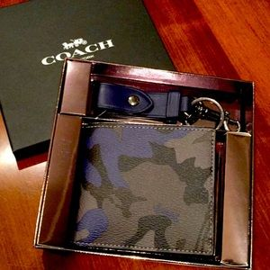 Coach Camo ID Billfold wallet and Key Fob box set